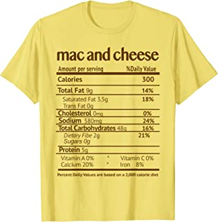 Mac and Cheese Costume Funny Food Nutrition Facts T-Shirt