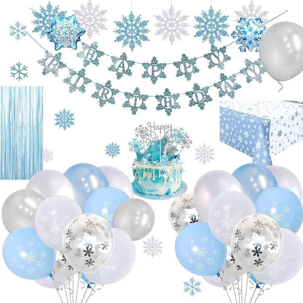 Copos de nieve Decoraciones de cumplea/ños Globos de fiesta congelados Globos de l/átex azul blanco plateado para ni/ña Mujer Fiesta de cumplea/ños Fondo de mantel