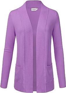 JJ Perfection Women's Open Front Knit Long Sleeve Pockets Sweater Cardigan Lightpurple XL