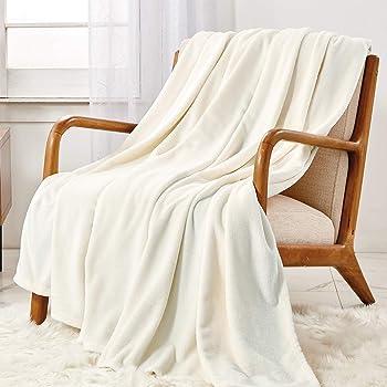 WAVVE Coperta Plaid di Pile Flanella - 130x150 cm, Bianco Beige - Plaid Divano 150x130, Coperta Letto Singolo, Calda e Morbida