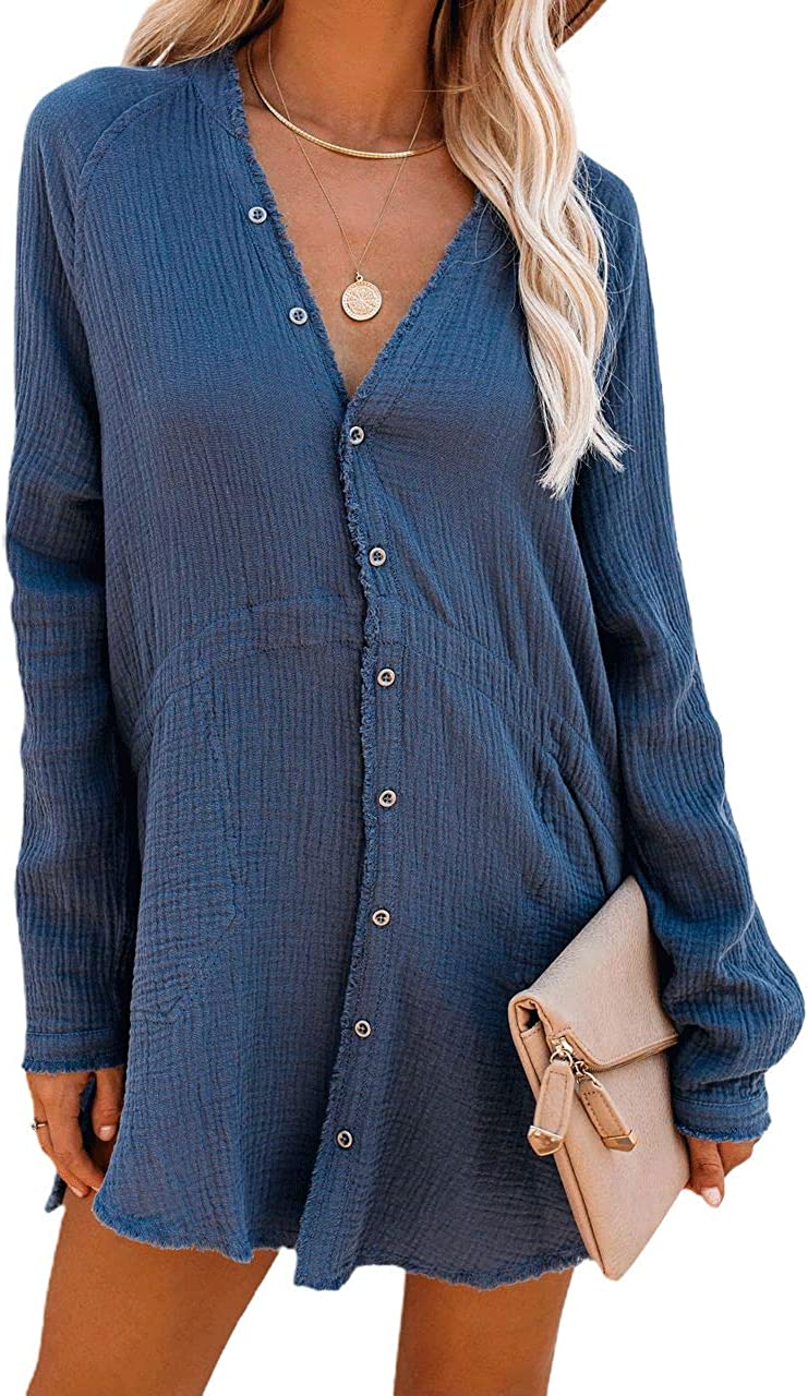 chouyatou Women's Casual Loose Fit Frayed Button Down Midi Base Shirt Blouse Dress