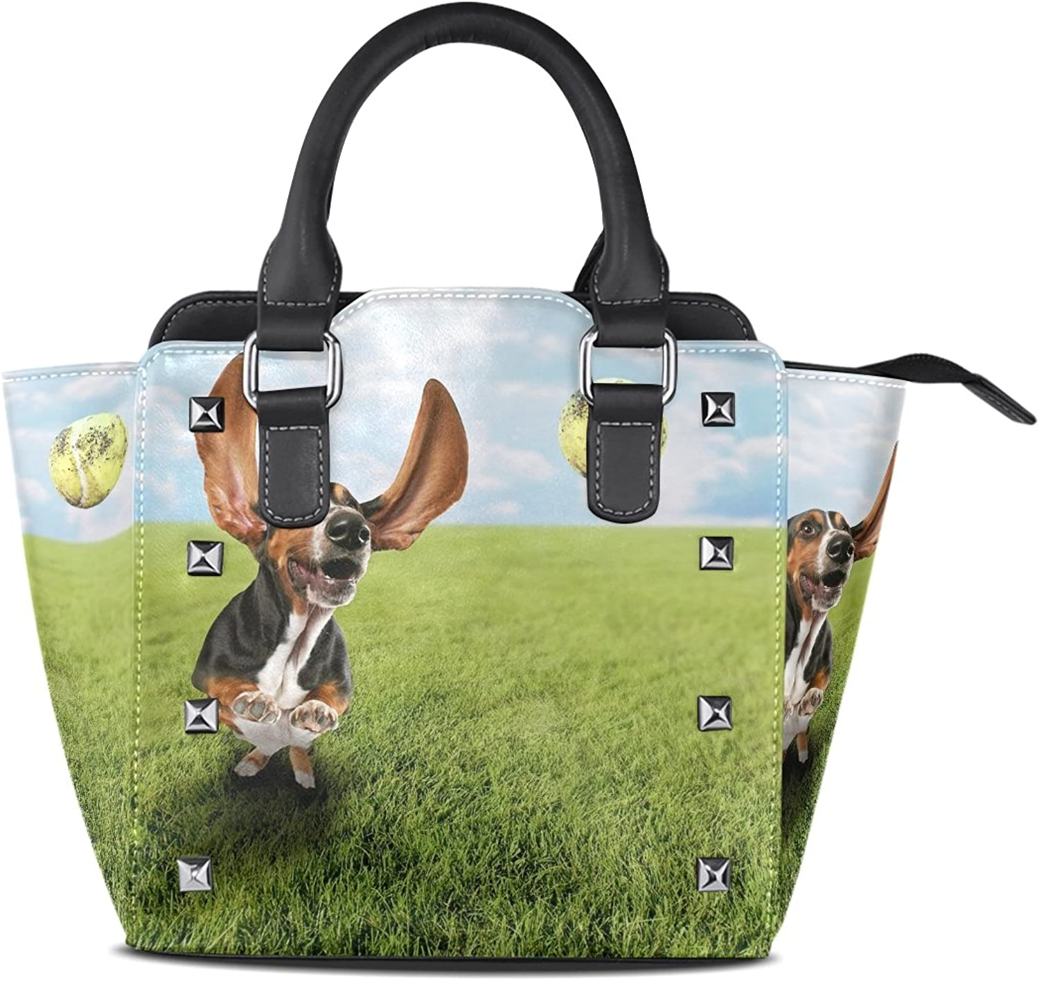 Sunlome Basset Hound Dog Chasing Tennis Ball Print Handbags Women's PU Leather Top-Handle Shoulder Bags