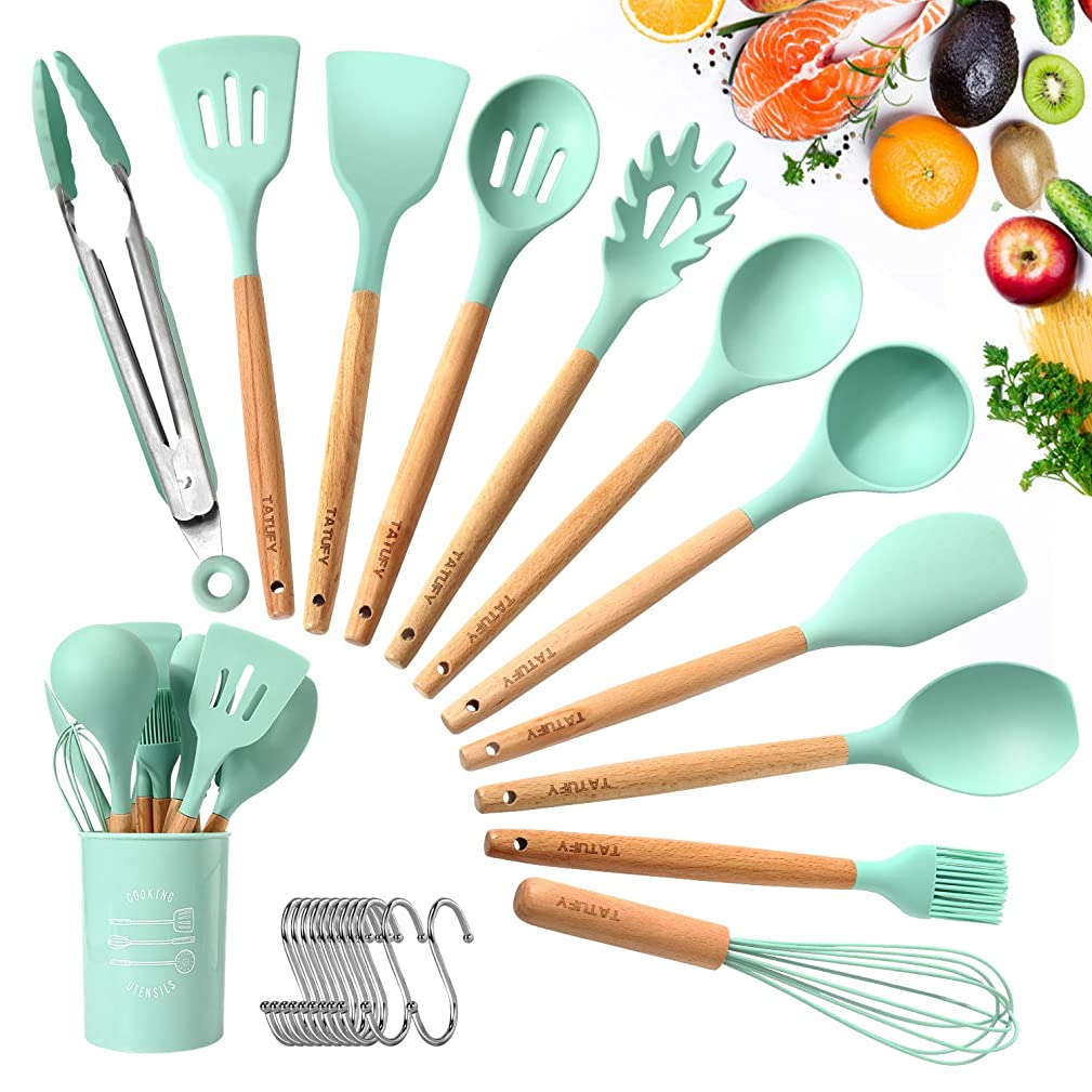 TATUFY 12pcs Silicone Cooking Kitchen Utensils Set, Bamboo Wooden Handles Cooking Tool   Non Toxic Silicone Turner Tongs Spatula Spoon Kitchen Gadgets Utensil Set for Nonstick Cookware