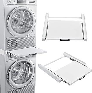 en.casa Verbindungsrahmen Universal für Waschmaschinen oder Trocknersäule Zwischenrahmen mit ausziehbarer Ablage 60x54cm rutschfest