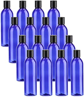 Bekith 16 Pack Blue Empty Plastic Squeeze Bottles with Flip Cap - 8oz Travel Containers For Shampoo, Lotions, Liquid Body Soap, Creams