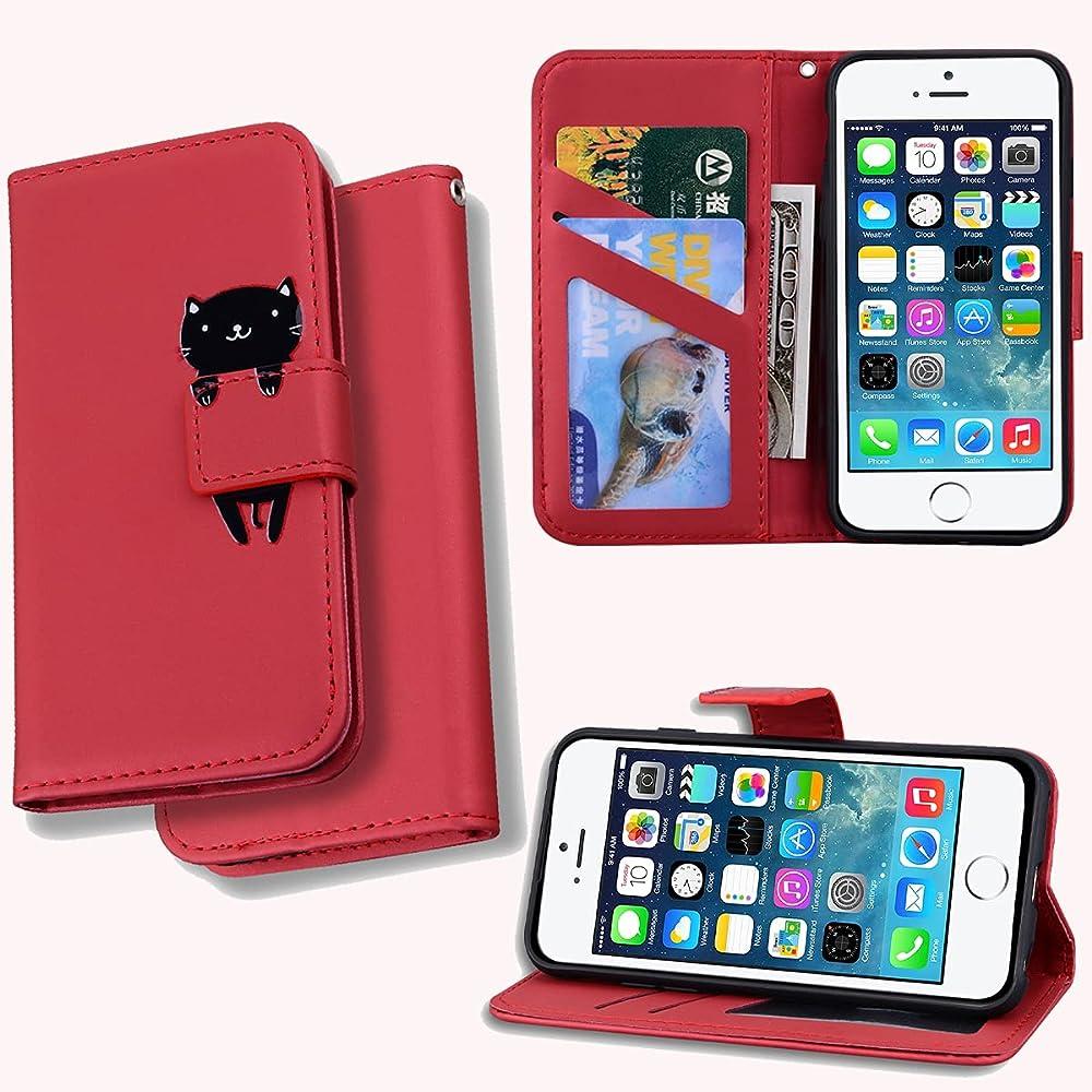Leinuo custodia per apple iphone 6/6s plus portafoglio porta carte di credito in pelle sintetica LN-KA-IP-6P-hong