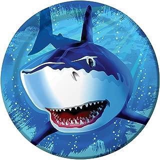 Creative Converting Shark Splash Round Dinner Plates, 24 Count (Value Pack)