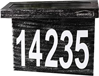 ZUOZUOYA Solar House Numbers Light - Stainless Steel Address Sign for House or Yard - 6 LED Light up House Numbers at Night - Waterproof Metal Plaque Outdoor Lights