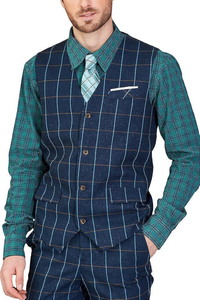 Hanayome Men's Plaid Design V-Neck Business Vest Suit Separate Dress Waistcoat