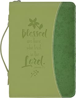 Blessed Who Trust in The Lord Floral Green Medium Faux Leather Bible Cover