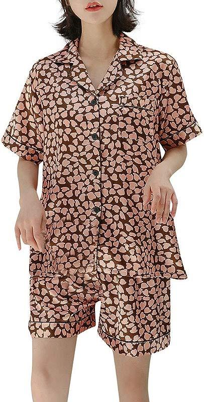 Hattfart Pajamas Women S Short Sleeve Sleepwear Soft Knit Loungewear With PJ Set