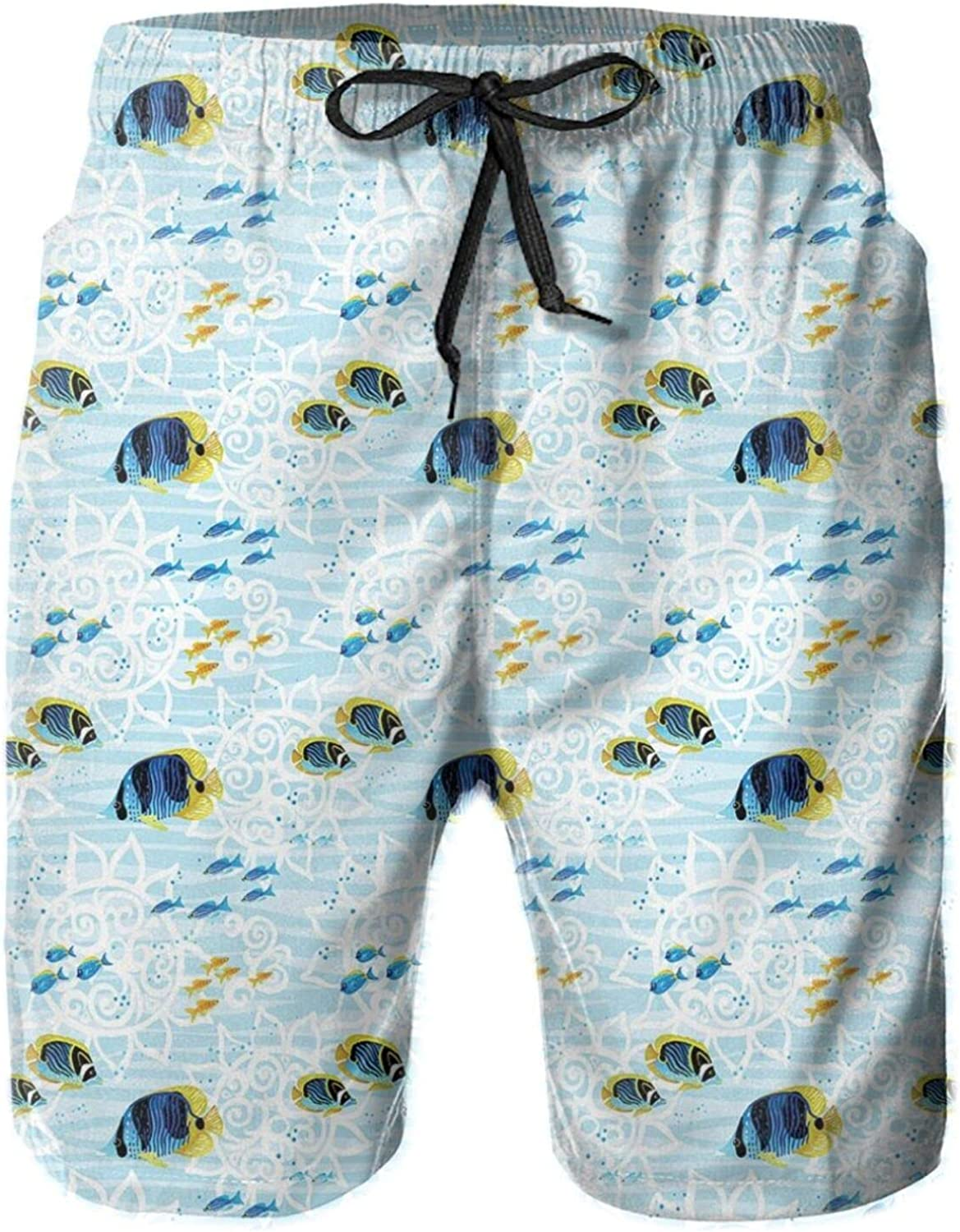 Sea Life Pattern Tropical Fishes On Pale Colored Floral Background Swimming Trunks for Men Beach Shorts Casual Style,XL