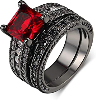 Double Fair 2 Pcs Black Gold Ring for Women Princess Cut Wedding Bands Birthday Gift (6 Colors Optional)