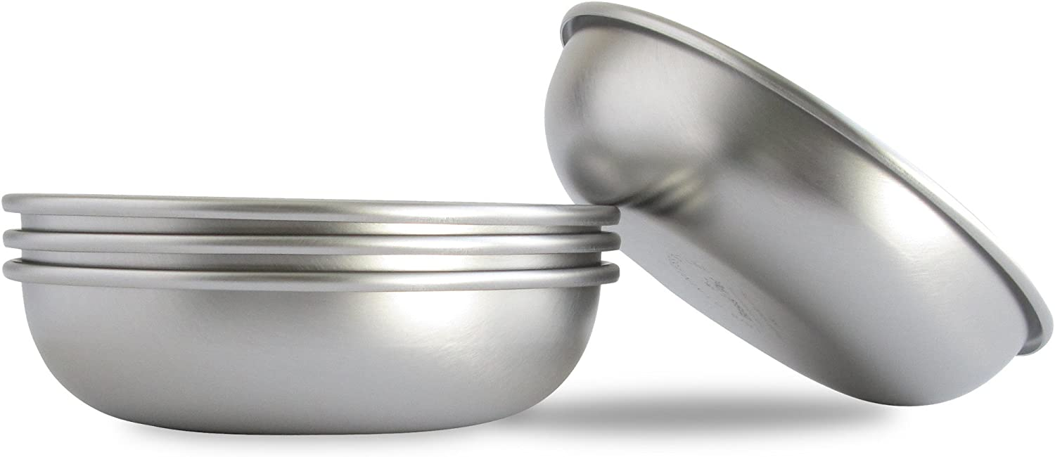 Basis Pet Made in The USA Stainless Steel Dog Bowl, Small (2 Cups), 4 Pack