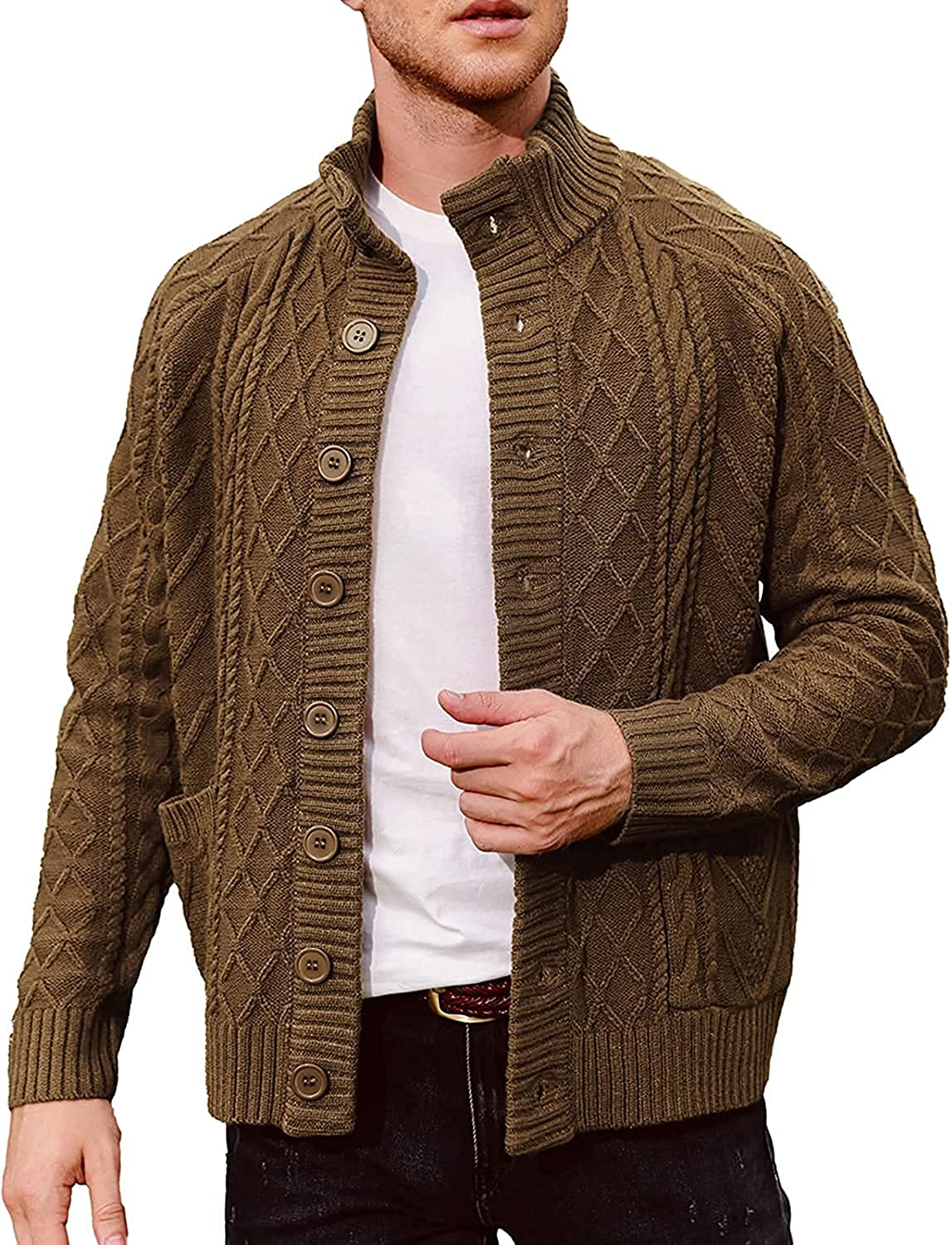 PASLTER Mens Single Breasted Stand Collar Cardigan Sweaters Long Sleeve Cable Knit Stylish Sweater with Pockets