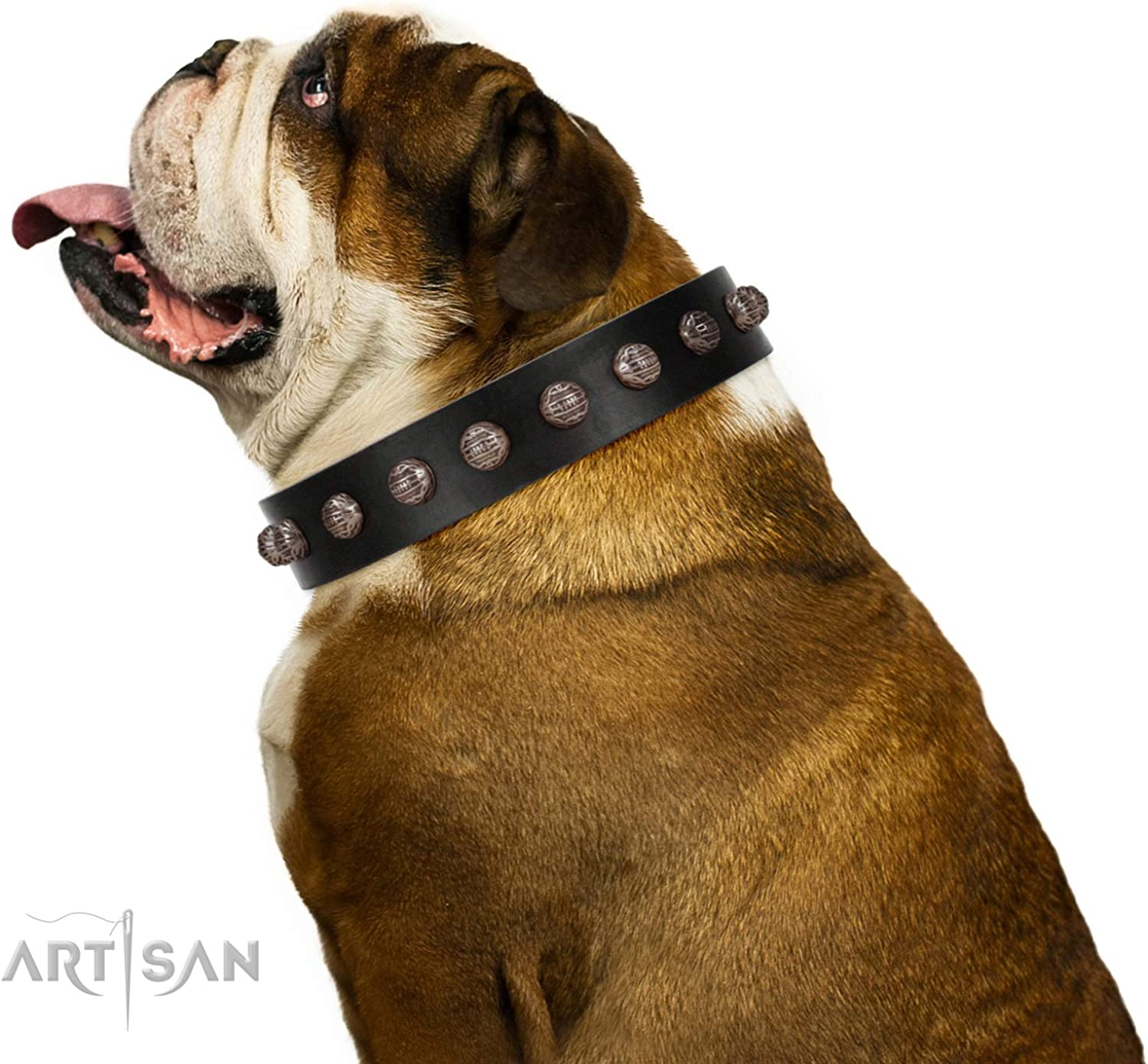 FDT Artisan 32 inch Designer Handmade Black Leather Dog Collar  Bizarre Affection  1 1 2 inch (40 mm)  with Gift Packaging