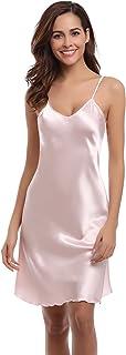 Aibrou Vestido Ropa de Dormir para Mujer, Satén Camisón Pijama Ropa Interior de Aspecto Brillante