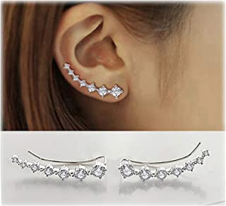 Elensan 7 Crystals Ear Cuffs Hoop Climber S925 Sterling Silver Earrings Hypoallergenic Earring
