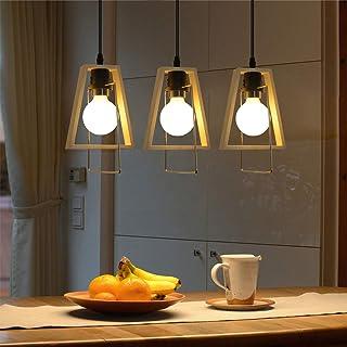 GBLY lámpara colgante de madera clara vintage lámpara colgante de 3 llamas mesa de comedor E27 luz colgante ajustable en altura para sala de estar dormitorio pasillo cocina barra (sin bombilla)
