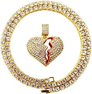 Mens Hip Hop Bling Iced Out 14K Gold Artificial Diamond Cartoon Characters cz Tennis Chain Necklace 22 Inch