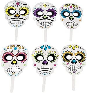 Day The Dead Handheld Masks (6 pieces) Halloween Party Supplies, Día de los Muertos Costume Accessories