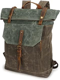 Men's Bag Men's Backpack Rucksack Retro Crazy Horseskin Student Travel Bag Waterproof Backpack (Color : Bronze, Size : M)