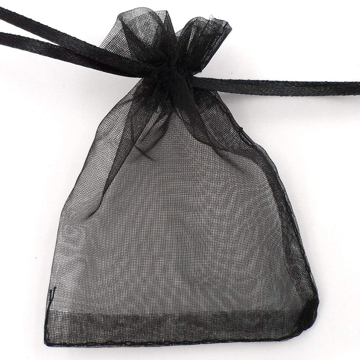 ATCG 200pcs 3x4 Inches Drawstring Organza Pouches Wedding Party Jewelry Favor Gift Candy Bags (Black)