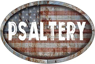 """ANY AND ALL GRAPHICS Psaltery Patriotic American Flag Rusty Rustic Metal 8""""x12"""" Oval Shaped Look Novelty décor Composite Aluminum Beach Cottage Sign."""