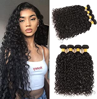 Water Wave Bundles Brazilian 100% Unprocessed Virgin Human Hair Weaves 4 Bundles Deals 22 24 26 28 Inch a Lot No Shedding Beauty Natural Black