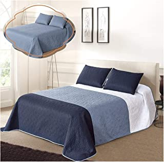 All American Collection New 3pc Solid Three Color Combination Reversible Bedspread Set (FULL/ QUEEN, White/Blue/Navy)