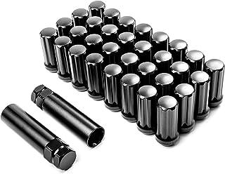 Krator Radmuttern, 32 Stück, schwarz, 14 x 2 Zoll + 2 x Schlüssel, Diebstahlsicherung, Sicherungsmuttern, 7 Spline Antrieb, geschlossenes Ende, Kegelsitz, Gesamtlänge: 5,1 cm