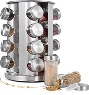 Xcellent Global Rotating Spice Rack with 16 Glass Spice Jars, Revolving Spice Rack Organizer Countertop Seasoning rack