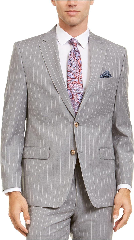 RALPH LAUREN Mens Gray Single Breasted Pinstripe Jacket 44 LONG