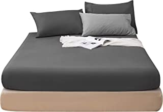 LS Fitted Bottom Sheet Only Premium Brushed Microfiber Ultra-Soft Fade Resistant Deep Pocket Queen Gray