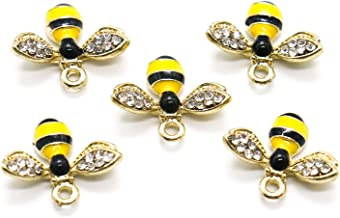 Gonioa 10 PCS Crystal Yellow Bee Design Charms Honeybee Charms Pendants for Crafting, Jewelry Making, Necklace, Earrings