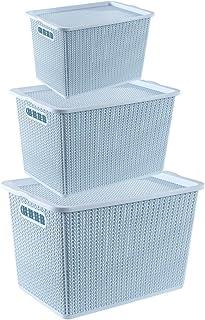 SZQ-boîtes de rangement Boîte De Rangement Creuse, Panier De Rangement En Rotin Imitation Panier De Rangement En Plastique...
