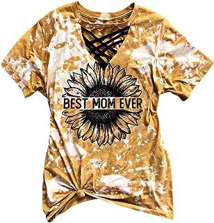 ESKNAS Women T-Shirts Sunmmer Sunflowers Printed Short Sleeves Tee Shirts Tie-dye Tops Blouse