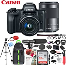 Canon EOS M50 Mirrorless Digital Camera Black with EF-M 15-45mm & 55-200mm Lenses Bundle with 32GB Memory Card, Dual Battery, Shotgun Microphone, Backpack, Tripod and Accessories (15 Items)