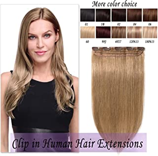 Clip in Remy Human Hair Extensions One Piece 5 clips 100% Remy Human Hair Straight Soft Extensions 3/4 FULL HEAD-Thicker(20