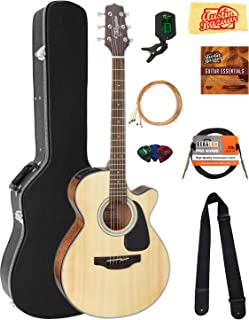 Takamine GF30CE FXC Cutaway Acoustic-Electric Guitar - Natural Bundle with Hard Case, Cable, Tuner, Strap, Strings, Picks, Austin Bazaar Instructional DVD, and Polishing Cloth