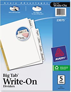 فواصل قابلة للكتابة عليها من Big Tab مع أشرطة قابلة للمسح (5/مجموعة) [مجموعة من 5]