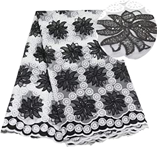 African Lace Fabrics for Parties Wedding Milk Silk Embroidered Lace Fabric (Color : Black, Size : 5YARDS)