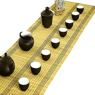 Tea Talent Handmade Natural Bamboo Sticks Tablemat Decor Kungfu Tea Set Slat Mat Placemat Tea Table Runner 12 By 70-inch, Light Yellow