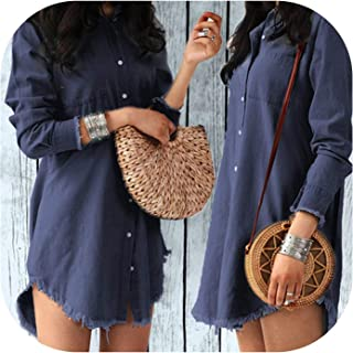 Women Dress Lady Long Sleeve Denim Shirt Dress Casual Turn-Down Collar Women Dresses