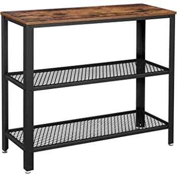VASAGLE Industrial Console Table, Hallway Table with 2 Mesh Shelves, Side Table and Sideboard, Living Room, Corridor, Narrow, Steel, Rustic Brown ULNT81BX