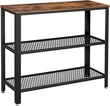 VASAGLE Industrial Console Table, Hallway Table with 2 Mesh Shelves, Side Table and Sideboard, Living Room, Corridor, Narrow,
