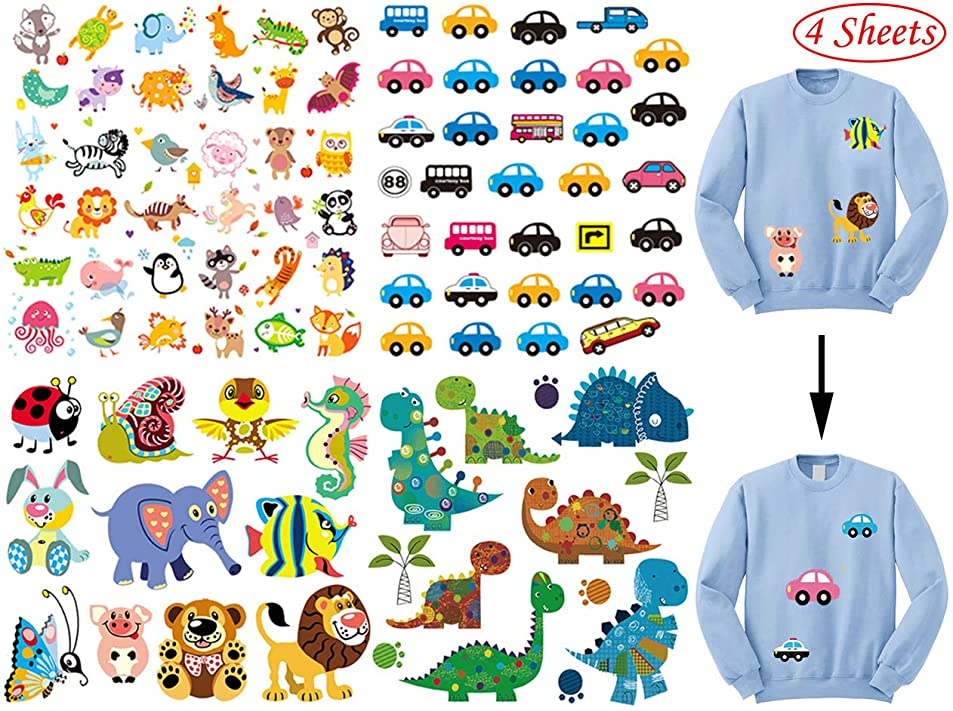 Iron on Patches for Kids,Assorted Dinosaur Animal Car Iron on Transfer Stickers,DIY Iron Applique Patches for Clothes Backpacks Clothing T-Shirt Jacket (4 Pcs) ufurrpal5074