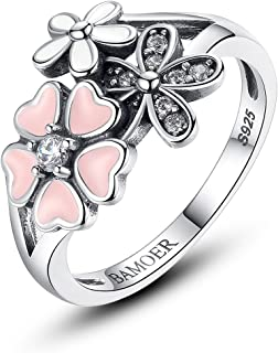 BAMOER 925 Sterling Silver Rings Pink White Enamel Cherry Blossom Flower Ring for Women Anniversary Ring Size 6 7 8 9
