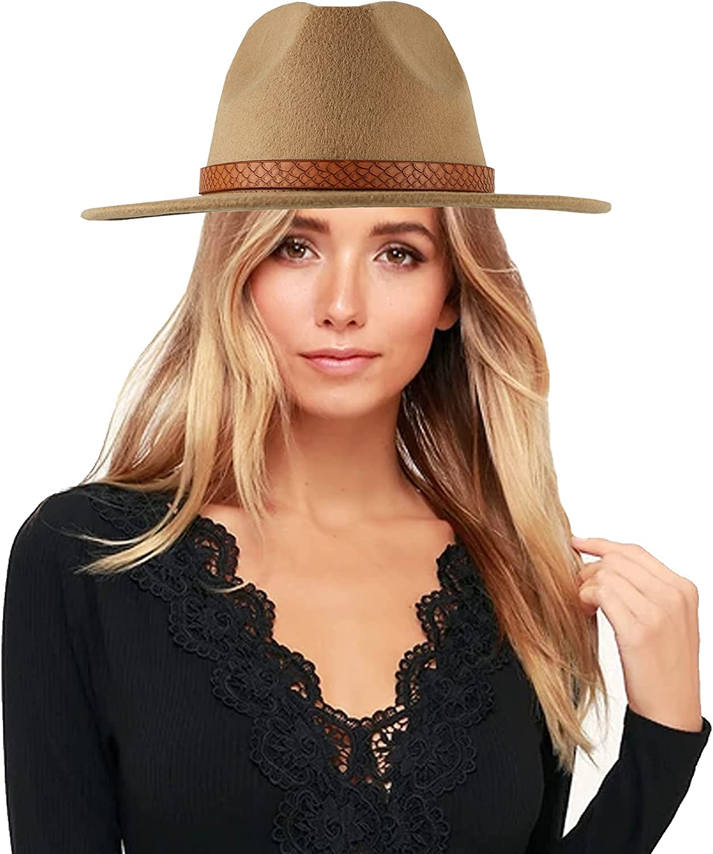 Felt Wide Brim Hat Classic Messer Fedora Hats for Men Women Retro Style Leather Snake Belt Panama Hat 56-58CM…