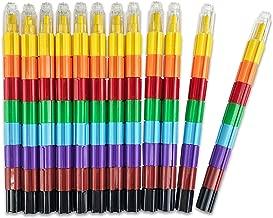 Huji 8-Color Stacking Buildable Crayons Set Kids Favors(Building-Blocks, 12)